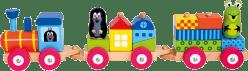 BINO Kolorowy pociąg z domkami – Krecik