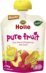 HOLLE Bio ovocné pyré hruška, broskev, maliny se špaldou, 90g