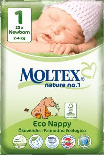 MOLTEX Nature no. 1 Newborn, 23 szt (2 - 4 kg) – pieluchy jednorazowe