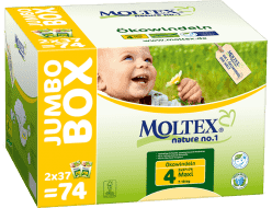 MOLTEX Nature no. 1 Maxi, 74 szt (7 - 18 kg) - JUMBO BOX – pieluchy jednorazowe