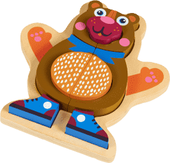 OOPS Happy Puzzle! - Puzzle ze zwierzątkami na planszy 9 szt. Niedźwiadek