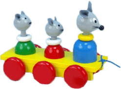MIVA Tri myšky ťahacie - farebné drevo