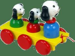 MIVA Trzy psy drewniane, do ciągnięcia - kolorowe