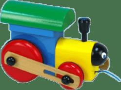 MIVA Lokomotiva/Vlak tahací barevná – dřevěný