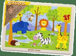 STUDO WOOD Puzzle safari 24 szt,