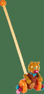 OOPS Come with me Friends! - Tlačící dřevěná hračka Chocolat au Lait - Medvídek