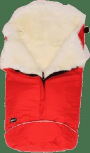 B.O.Z.Z Fusak do kočíka z ovčej vlny - dlhý vlas, Red / White