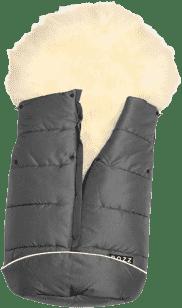 B.O.Z.Z Fusak do kočíka z ovčej vlny - dlhý vlas, Grey / White