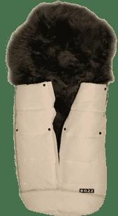 B.O.Z.Z Fusak do kočárku z ovčí vlny - dlouhý vlas, White / Grey