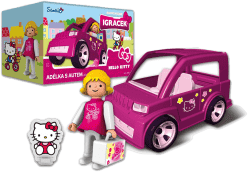 IGRÁČEK & HELLO KITTY Adélka s autom a doplnky