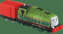 FISHER-PRICE Lokomotywa Gerald (Gator) - zielona z czerwonym wagonikiem
