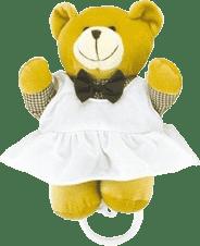 CANPOL Babies Plyšová hrající skříňka medvídek v kostkované košili – holka