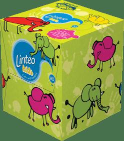 LINTEO KIDS – chusteczki higieniczne, dwuwarstwowe, papierowe pudełko (box), 80 szt.