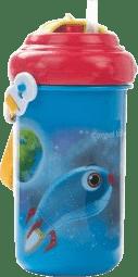CANPOL Babies Sklenička cestovní s víčkem a slámkou – modrá 400ml