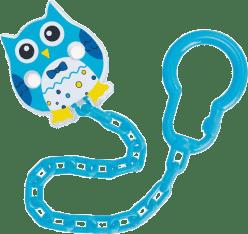 CANPOL Řetízek na šidítko sova – světle modrá
