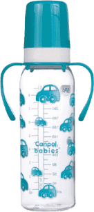 CANPOL Babies Fľaša s jednofarebnou potlačou 250 ml s úchytmi bez BPA - tyrkysová