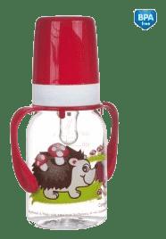 CANPOL Babies Láhev s potiskem kontinenty 120 ml s úchyty bez BPA – červená