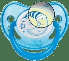 CANPOL Babies Smoczek silikonowy anatomiczny 6-18 m. Night dreams – niebieski