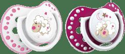 LOVI Dynamiczny silikonowy smoczek NIGHT&DAY 0-3m 2szt dla dziewczynki, Owieczka