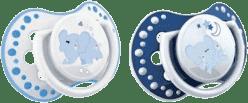 LOVI NIGHT & DAY Dynamiczny smoczek silikonowy, 0-3 mies. 2 szt. – niebieski baranek