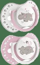 LOVI NIGHT & DAY Dynamiczny smoczek silikonowy, 6-18 mies. 2 szt. – różowy hipopotam*