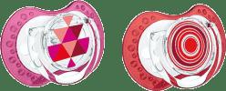 LOVI Smoczek silikonowy, dynamiczny LOVI ETNO 3-6 mies. 2 szt. – czerwony