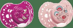 LOVI Smoczek silikonowy, dynamiczny FOLKY 0-3 mies. 2 szt. – filetowy, różowy
