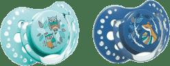 LOVI Smoczek silikonowy, dynamiczny FOLKY 0-3 mies. 2 szt. – niebieski