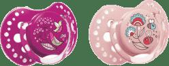 LOVI Šidítko silikonové dynamické FOLKY 3-6m 2ks – fialové, růžové