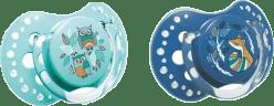 LOVI Smoczek silikonowy, dynamiczny FOLKY 6-18 mies. 2 szt. – niebieski