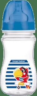CANPOL Fľaša EasyStart Piráti 240ml 0% BPA-tmavo modrá