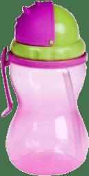 CANPOL Babies Fľaša športová sa slámkou- ružová 370 ml
