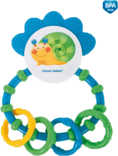 CANPOL Hrkálka s hryzátkom Happy Garden - modrá