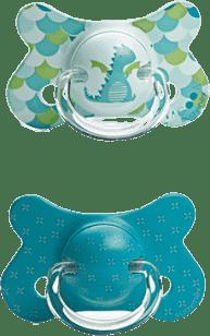 SUAVINEX Fusion dudlík anat.savička +12m 2 unit – drak, zelené křížky