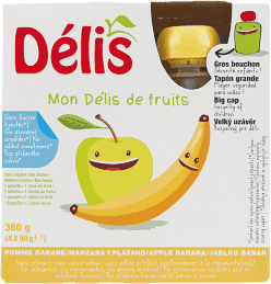 DÉLIS 100% ovocné pyré jablko-banán (4x90g) - ovocný príkrm