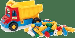 WADER Auto multitruck s kockami plast 37 cm - 2 farby v sieťke 1+ rok