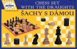 DETOA Šachy+dáma ze dřeva společenská hra