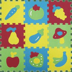 LUDI Puzzle penové 84x84 cm ovocie a zelenina