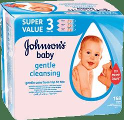 3x JOHNSON'S BABY Gentle Cleansing 56 szt. - chusteczki nawilżane