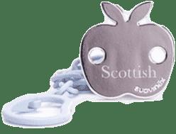 SUAVINEX Scottish retiazka na cumlík s klipom modrý - jablko