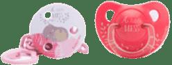 SUAVINEX Smoczek anatomiczny +6 miesięcy lateks + okrągły klips mess dziewczynka