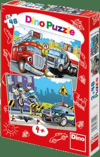 DINO Doskové Puzzle Hasiči a Polícia 2x48ks