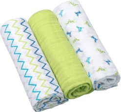 BABY ONO Pleny mušelínové Super soft, 3ks - zelené