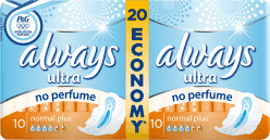 ALWAYS Ultra Normal+ bez obsahu parfému 20 ks