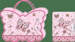 BINO Diář se zámkem v taštičce - motýl