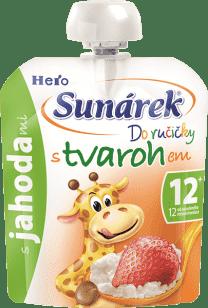 SUNÁREK Do ručičky s jahodami a tvarohom 80g - ovocný príkrm