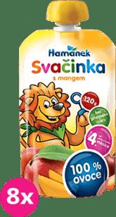 8x HAMÁNEK Svačinka 100% ovoce s mangem, (120g)