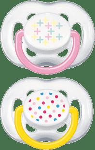 AVENT różowy+żółty smoczek sensitive Fantazie (silikonowy) 6-18 miesięcy
