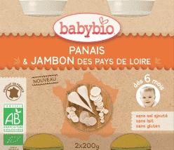 BABYBIO menu paštrnák so šunkou 2x200g