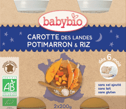 BABYBIO večerné menu mrkva tekvica ryža 2x200g